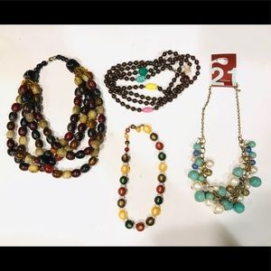 4 bundle Beaded Statement Bib Necklaces Forever 21